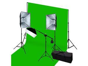 3 Softbox Video Lighting Kit & Background Supports Green Screen Kit GEP004