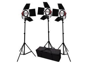 2400W Video Photography Studio Film Focusable 3 Barndoor Lighting Kit GEP008