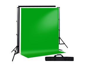 Lusana Studio Chroma Key Green Screen Black White Backdrop stand Kit Set LNG2859