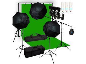 Lusana Studio Chromakey Green Screen Lighting Kit 10x20' Backdrop Muslin LNG3180