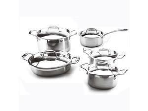 LEISURE MAN 10 Piece 3-Ply Clad Stainless Steel Cookware Set Dutch Oven Saucepan