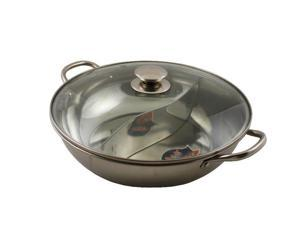CONCORD Stainless Steel Yin Yang Dual Sided Hot Pot Cookware Great 4 Shabu Shabu