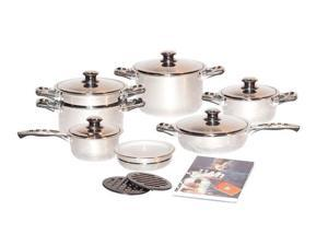 Millerhaus 17 PC 7-ply T304 Stainless Steel Cookware Set Dutch Oven Saucepan Fry