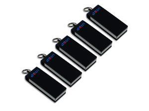 Litop 1GB Pack Of 5 - Black Metal Swivel Style USB Flash Drive Digital Data Traveler USB 2.0