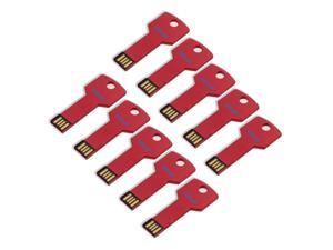 Litop Pack Of 10-Red 2GB Metal Key Shape USB Flash Drive USB 2.0 Memory Disk