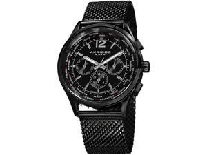 Akribos XXIV Men's AK716BK Explorer Swiss Multifunction Black Stainless Steel Mesh Bracelet Watch