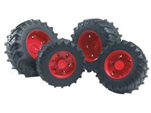 Twin Tractor Tires (Red) - Vehicle Toy by Bruder Trucks (03313)