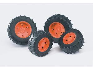 Twin Tractor Tires (Orange) - Vehicle Toy by Bruder Trucks (03312)
