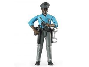 Policeman - Dark Skin with Accessories - Vehicle Toy by Bruder Trucks (60051)