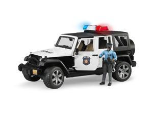 Jeep Rubicon Police with Dark Skin Officer Vehicle Toy by Bruder Trucks (02527)