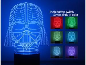 3D illusion bulbing Night 7 color change Touch switch table desk lamp LED light(Star War)