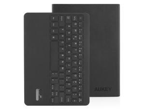 Aukey KM-B4 Bluetooth Ultra Slim Folio Leather Keyboard Stand Case for iPad Air With Detachable Bluetooth Keyboard - Black