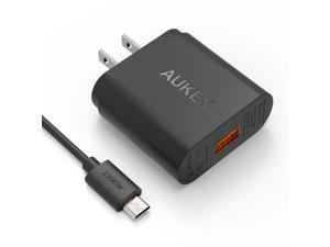 Aukey Quick Charge 2.0 18W USB Turbo Wall Charger (Included A 20AWG 3.3Ft Micro USB Cable) - Black