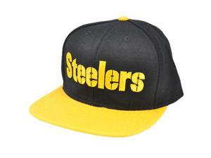 NFL Reebok Pittsburgh Steelers 1933 Flat Bill Black Yellow Snapback Wool Hat Cap