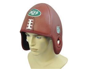 NFL New York NY Jets Reebok Faux Leather Football Shaped Hat Cap Helmet Head