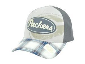 NFL Green Bay Packers Plaid Flex Fit L/XL Retro Reebok Hat Cap Curved Bill TS39Z