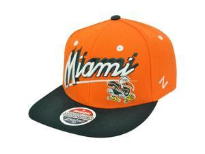 NCAA Miami Hurricanes Canes Flat Bill Logo Zephyr Orange Green Snapback Hat Cap