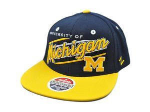 NCAA Michigan Wolverines UM Flat Bill Snapback Zephyr Script Hat Cap Zhat Blue