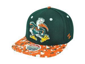 NCAA Miami Hurricanes Zephyr Splatter Sebastian 32/5 Snapback Flat Bill Hat Cap