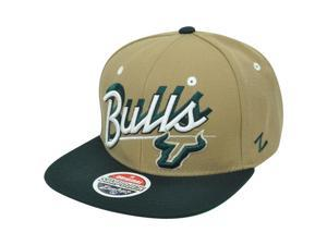 NCAA South Florida Bulls Zephyr Shadow Script Snapback Flat Bill Khaki Hat Cap