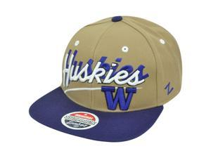 NCAA Washington Huskies Zephyr Shadow Script Flat Bill Snapback Hat Cap Two Tone