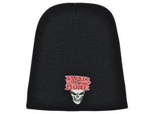 Bad 2da Bone Cuffless Knit Beanie Toque Skully Skulls Death Darkness Black Brand