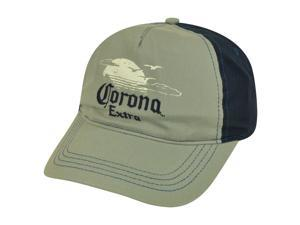 Corona Extra Mexico Beer Sunset Two Tone Garment Wash Velcro Hat Cap Grey Blue