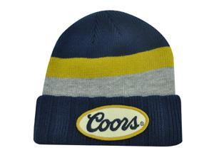 COORS CERVEZA BEER BLUE GRAY KNIT BEANIE TOQUE HAT CAP