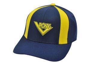 PONY MENS NAVY BLUE YELLOW HAT CAP FLEX FIT MED LARGE