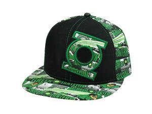 Green Lantern DC Comics Original Fitted Size 7 1/4 Flat Bill Black Green Hat Cap