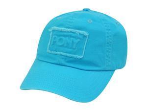 PONY WOMENS SKY BLUE BASEBALL HAT CAP DISTRESSED PATCH