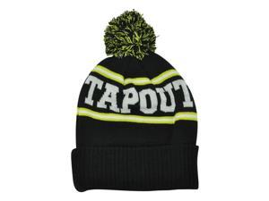 Tapout Black Toque Pom Pom Cuffed Knit Beanie MMA Mixed Martial Arts Hat Black