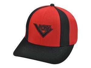 PONY MENS RED BLACK HAT CAP FLEX FIT SMALL MEDIUM