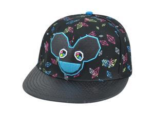 Deadmau5 DJ Faux Leather Diamonds Dubstep EDM Music Snapback Hat Cap Flat Bill