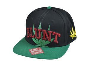 Blunt Weed Leaf Black Flat Bill  Snapback Ganja Spencers Smoke Hat Cap
