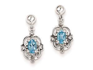 Sterling Silver Pear Swiss Blue Topaz  #38; Diamond Post Earrings