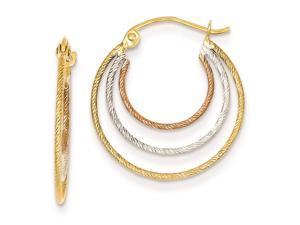 14k Tri-color Diamond Cut Hoop Earrings