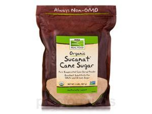 NOW Real Food - Sucanat Cane Sugar (Certified Organic) - 2 lbs (907 Grams) by N