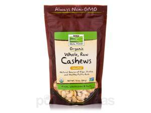NOW Real Food - Cashews (Unsalted, Whole, Raw, Certified Organic) - 10 oz (284