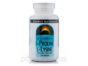 L-Proline L-Lysine 275 mg - 120 Tablets by Source Naturals