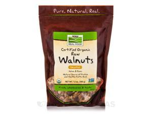 NOW Real Food - Certified Organic Raw Walnuts, Unsalted - 12 oz (340 Grams) by