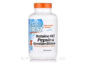 Betaine HCl Pepsin & Gentian Bitters - Doctors Best - 360 - Capsule