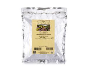 """Organic Ginger Root (1/4"""") Cut and Sift - 1 lb (453.6 Grams) by Starwest Botanic"""