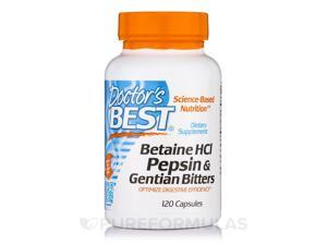 Betaine HCI Pepsin and Gentian Bitters, 120 Vcaps, From Doctor's Best