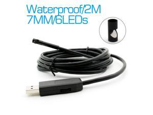 Waterproof Snake LED Camera Endoscope 2m Mini USB Borescope Camera 7mm LENs Endoscope Inspection Video Camera 6 Leds USB Snake with Side Mirror
