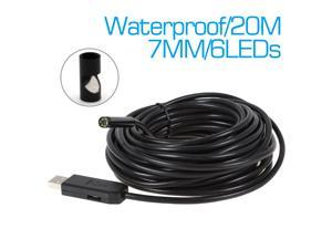 Waterproof Borescope 20m USB Inspection Camera Video Snake Endoscope 6 Leds 7mm Lens Video Inspection Borescope Endoscope Camera with Side View Mirror