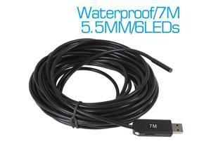 USB Endoscope 7m Cable Super Mini Dia 5.5mm Waterproof Video Borescope Endoscope Inspection Camera 6 LED Flexible Snake Camera