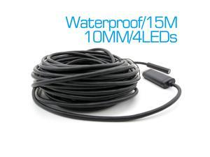 15M 4 LEDs Waterproof USB Endoscope Inspection Camera 10mm LENs Mini Endoscope Borescope Snake Inspection Video Camera with P2P