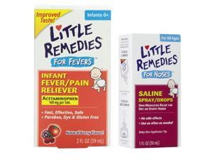 Little Remedies Fever Pain Reliever & Saline Spray/Drops for Stuffy Noses