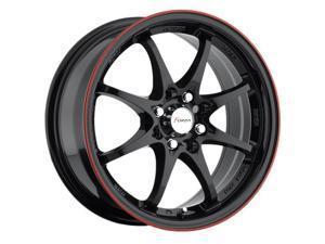 Forza FO-302 17x7 5x100/5x114.3 +38mm Black with Red Stripe Wheel Rim